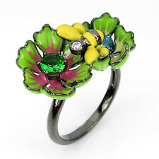 RARE! AWESOME NEW DESIGNED FANCY CZ 925 SILVER ENAMEL BEE,FLOWER RING HANDMADE!
