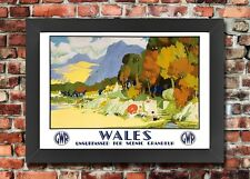 TT97 Vintage Wales GWR Railway Travel Framed Poster Re-Print A3/A4