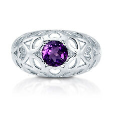BERRICLE Sterling Silver 0.84 ct.tw Amethyst Filigree Fashion Right Hand Ring