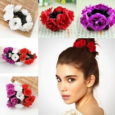 Charm Flower Bun Garland Floral Head Knot Hair Top Scrunchie Band Elastic Bridal