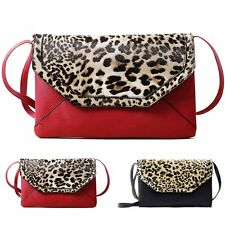 Fashion Women Faux PU Leather Leopard Print Envelop Bag Messenger Cross Body Bag