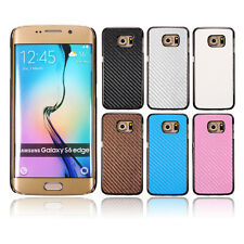 Carbon Fiber Plating PU Leather Hard Case Cover For Samsung Galaxy S6/S6 Edge