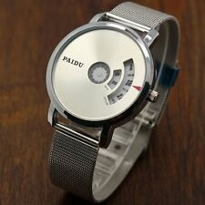 Fashion Turntable Dial PAIDU Net Mesh Steel Band Wrist Watch Men Women Gift