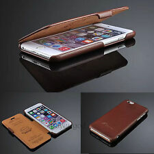 100% Real Genuine Flip Luxury Leather Case Cover Skin For iPhone 5 5S 6 / 6plus