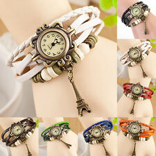 WOMEN'S STYLISH EIFFEL TOWER QUARTZ LEATHER BRACELET WRIST WATCH