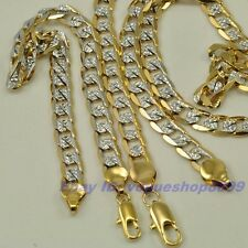 """8.3"""",23.6"""",6mm BRACELET,NECKLACE,SET,18K YELLOW WHITE GOLD GP,REAL CURB CHAIN"""