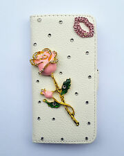 Bling Crystal Rose PU leather flip pouch Case Wallet cover For Samsung 1