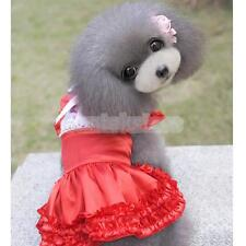 Puppy Pet Dog Cat Satin Princess Dress Bowknot Lace Party Shirt Clothes S M L XL