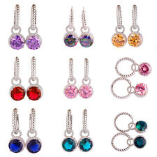 Garnet Pink & Green Topaz Sapphire Multi-Color Gemstones Silver Women Earrings
