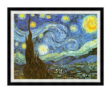 Framed Starry Night by Vincent van Gogh Picture Painting Repro Canvas Art Print