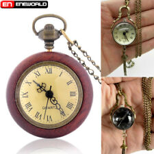Vintage Steampunk Glass Ball Quartz Wooden Pocket Watch Pendant Necklace Chain