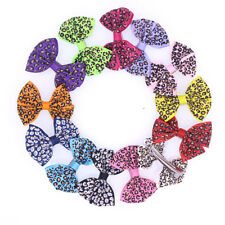 New Leopard Bows Pet Hair Clips Dog Hair Bows Dog Grooming Hair Accessories