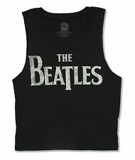 "THE BEATLES ""DISTRESSED LOGO"" BLACK MUSCLE T NEW OFFICIAL JRS"
