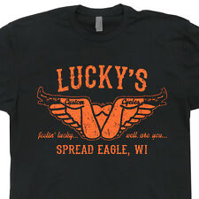 Lucky's Custom Cycles T SHIRT Motorcycle Vintage Davidson Indian Biker Harley T