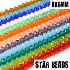 FACETED RONDELLE CRYSTAL GLASS BEADS PICK COLOUR 8X6MM