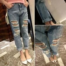Women Destroyed Ripped Distressed JEANS Boyfriend  Denim Cropped Washed Pants Y2