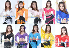 New Ladies Lace Belly Dance Costume Top Bolero Flared Sleeves Blouse Dance Dress