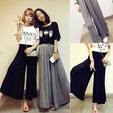 Fashion Women Wide Leg Pleated Loose Baggy Casual Pants Flare Palazzo Trousers