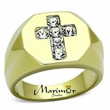 MEN'S STAINLESS STEEL 14K GOLD ION PLATED SIMULATED DIAMOND CROSS RING SIZE 8-13