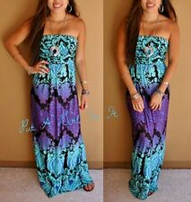 "BLUE PURPLE ""AFRICAN VIOLET"" TUBE LONG SLEEVELESS BOHO EMPIRE MAXI DRESS S M L"