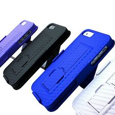 For Apple iPhone SE 5S 5 Thin Shell Hard Kickstand Cover Case+Belt Clip Holster