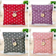Women Cute Polka Dot Cotton Sanitary Napkin Towel Pocket Small Bag Case Holder