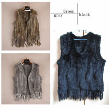 Real Rabbit Fur Vest Womens Gilet Knitted Rabbit Fur Vest Waistcoat Warm Outwear