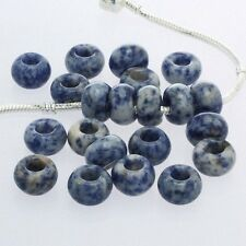 Wholesale Smooth Blue Sodalite Gemstone Rondelle Loose Beads Fit Charms Bracelet
