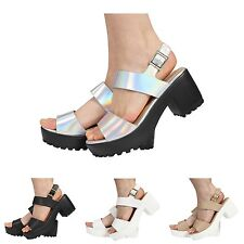 WOMENS LADIES CLEATED SOLE CHUNKY HEEL STRAPPY PLATFORM PEEPTOE SANDALS SHOES
