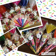 Pre filled Personalised Party Cones Sweets Favours Birthday QUICK FREE DELIVERY
