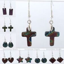 Pair Colorful Dichroic Foil Lampwork Glass Dangle Charm Hook Party Earrings Gift