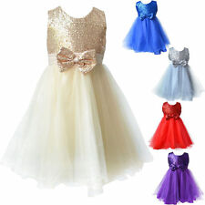Flower Girls Princess Pageant Dress Wedding Bridesmaid Party Communion Tutu Rose