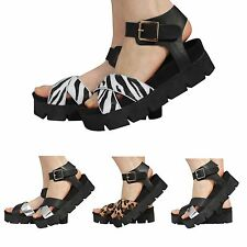 WOMENS LADIES CHUNKY SOLE ANKLE STRAP BUCKLE SUMMER WEDGES PLATFORM SANDALS SHOE