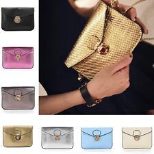New Womens Lady PU Leather Envelope Clutch Tote Handbag Shoulder Bag Phone Purse