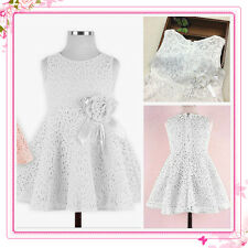 Whites Communion Christening Wedding Party Flower Girls Dresses AGE 2,3,4,5,6,7Y