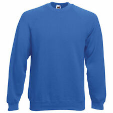 MENS & LADIES FRUIT OF THE LOOM SCREEN STAR CLASSIC RAGLAN SWEATSHIRTS - ROYAL