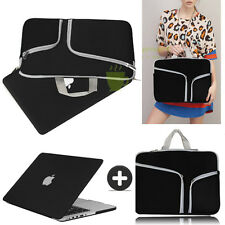 Coal Black Rubberized Case Cover +Sleeve Bag For Macbook Pro 13 Air 11 Retina 15
