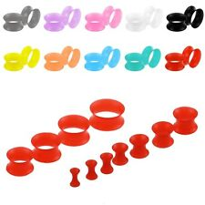 1 Pair New Soft Silicone Flexible Ear Skin Tunnels Plugs Expander Gauges Eyelets