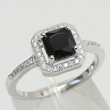 LOVELY 1 CT PRINCESS CUT BLACK STONE 925 STERLING SILVER RING SIZE J-T
