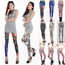 Fashion Women Ladies Sexy Floral Printed Stretchy Pencil Leggings Pants Trousers