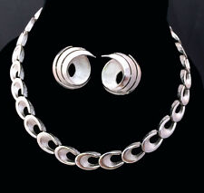 TRIFARI Vintage NECKLACE Earrings Set Etched Silver Tone