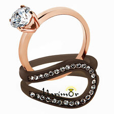 Stainless Steel 1Ct Cz Rose Gold & Brown 2 Piece Wedding Ring Set Womens Sz 5-10