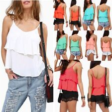 Women Casual Chiffon Strappy Club Party Sexy Vest Tops Tank Cami Blouse