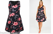 PLUS SIZE YOURS CLOTHING BLACK CORAL ORCHID FLORAL PRINT SUMMER PARTY SUN DRESS