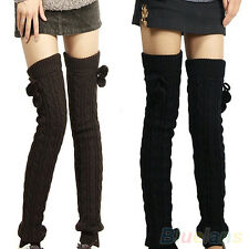 Comely Womens Lady Crochet Knitted Stocking Leg Warmers Boot Thigh High Socks
