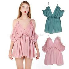 Summer Womens Boho V Neck Romper Ruffled Backless Playsuit Jumpsuit Shorts G18
