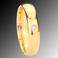 5MM 14K Gold EP Classic Dome Tungsten CZ Lady Ring SZ 4-9