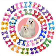 50X Pet Dog Cat Hair Bows with Rubber Bands Pet Grooming Hair bows Dog Grooming