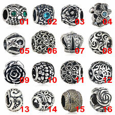 925er Solide Sterling Silber CZ Kristall Antik Retro European Bead Charm Element