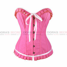 Sexy Gothic Women Overbust Waist Training Pink Lace Up Boned Corset Bustier Top